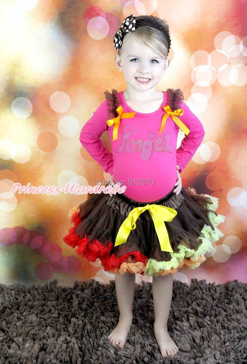 Thanksgiving Rhinestone Angel Hot Pink Top Brown Skirt Baby Girl Outfit 1-8Year MAPSA0078<br>