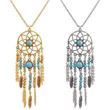 Boho Silver Gold Dream Catcher Leaves Feathers Charm Necklaces Round Faux Beads Sweater Necklace Jewelry(China)