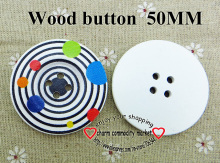 100PCS 50MM Galactic System wooden button for sewing boots coat sweater clothes findings crafts MCB-890(China)