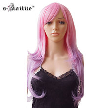 SNOILITE (US Warehouse 3-7days) 24inch Cosplay Wig Ombre Long Curly Synthetic Heat Resistant Fibre Halloween Full Head Hair Wigs(China)