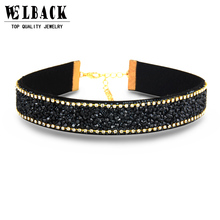 2017 New Design Punk Natural Stone Women Fashion Link Chain Leather Collar Chokers Necklace Fashion Accessories For Women(China)