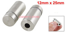 10 Pcs Silver Tone Stainless Steel 12mm x 25mm Advertising Nail Class Standoff