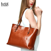 BRIGGS New Arrival Casual Tote Bag Women's Genuine Leather Handbags Female Messenger Bag Ladies Cross Body Bags(China)