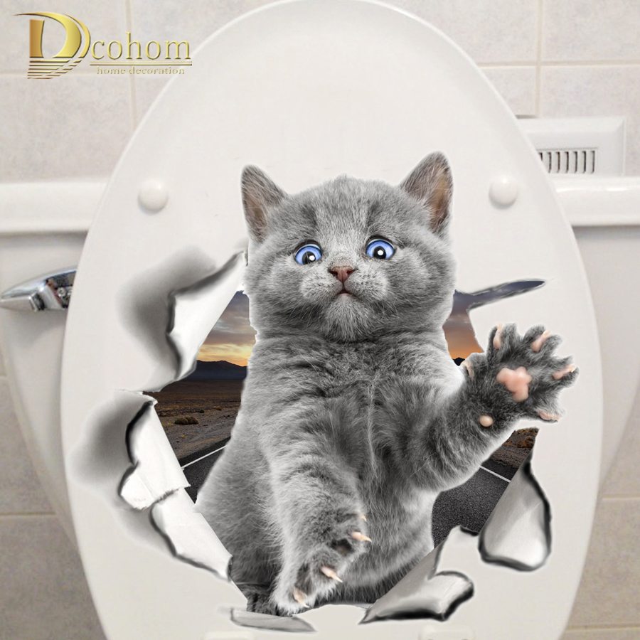 Various Cute Kitten Animal Cartoon Cat Wall Sticker 3D Vivid Baby Kid Room Bathroom Decors Peel & Stick Toilet Sticker(China)