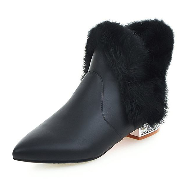 Big Size 32-43 Fashion Shoes Add Thick Fur Ankle Boots High Quality Fall Winter Boots Party Women Shoes Pointed Toe Women Boots<br><br>Aliexpress