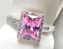 White Gold Filled Princess Cut 7*10mm 1.5CT Pink AAA CZ Lady Wedding Band Engagement  Women's Ring Jewelry