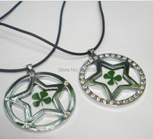 FREE SHIPPING 12 PC yqtdmy jewelry real green four leaf clover clear five star design lovely pendant(China)