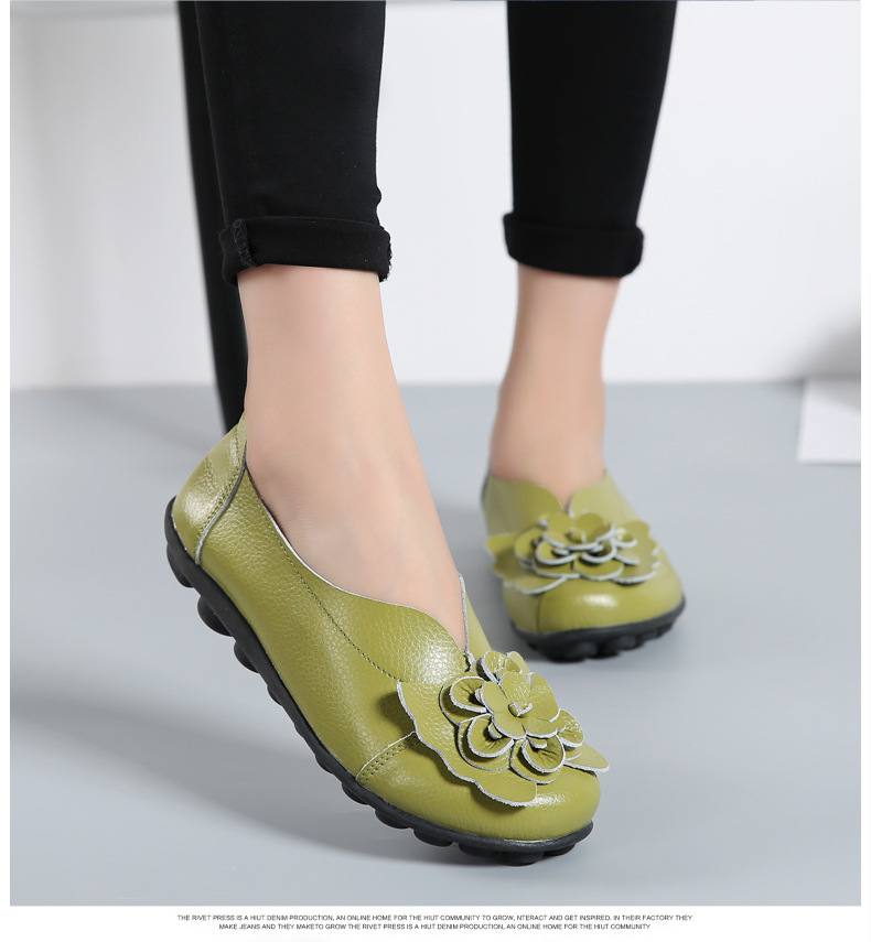 Women Real Leather Shoes Flower Moccasins Mother Loafers Soft Leisure Flats Casual Female Driving Ballet Footwear Women Shoes 17