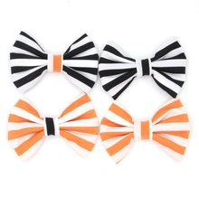 12pcs/lot 4'' Stripped Cotton Bow (Without Clips) Halloween Festival Hair Bow for Headband Black/Orange Hair Accessory News(China)