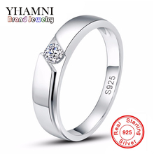 Sent Silver Certificate Real Solid Silver Ring Men 925 Silver Jewelry 0.5 Carat CZ Diamant Wedding Rings for Men and Women AR77(China)