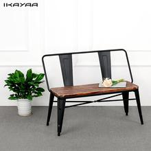iKayaa 2 Seater Outdoor Bench Chair with Backrest Natural Pinewood Top Metal Frame Patio Garden Bench Furniture US Stock(China)