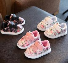 Cute baby girl shoes Princess Flower printing sneaker Causal kids children shoes soft baby Moccasins Toddler walker boot(China)