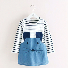 Baby Stripe Dress Cute Character Mouse Girls Dresses Children Clothing Denim Clothes For Kids Boutique Clothing Age 2 To 6 Years(China)