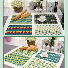 42x32cm Geometric pattern Cotton Linen Western Pad Placemat Insulation Dining Table Mat Bowls Coasters Kitchen Accessories(China)
