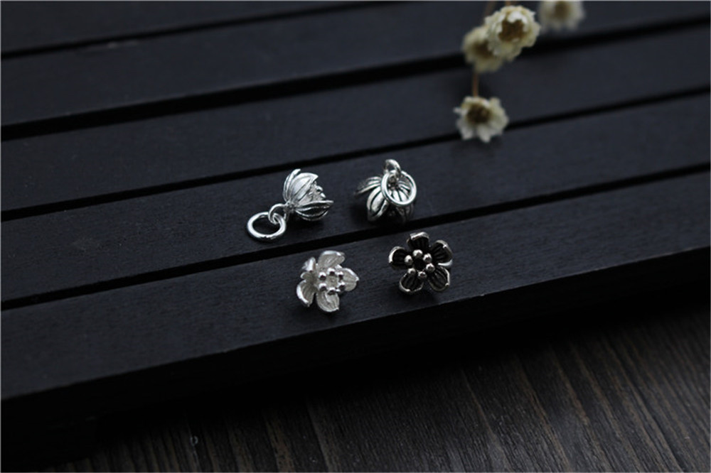 Emith Fla 100% 925 Sterling Silver Flower Small Pendants Vintage Chain Pendant for Necklace & Bracelet Trendy Jewelry Makings