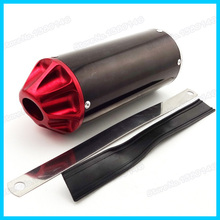 28mm Red Aluminum Exhaust Muffler For Mini Motocross Pit Dirt Bike SSR Thumpstar Go Kart Motorcycle(China)
