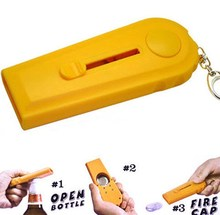 Creative Tool Flying Cap Launcher Bottle Beer Opener Keyrings Key Chain Typical(China)
