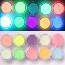 New Powder Glitter Glow 10Color Nail Art Ultrafine Fluorescent Effect Nail Design Pigment 3D Glow Dust Decorations in the Dark