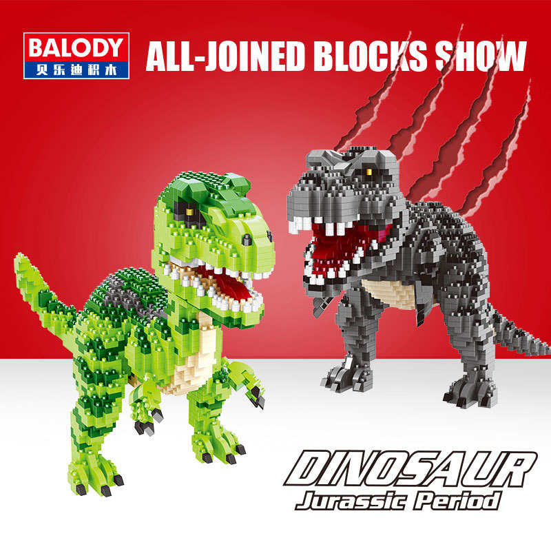 Balody Mini Blocks Green Dinosaur Toy Velociraptor Model Jurassic World Park Kid
