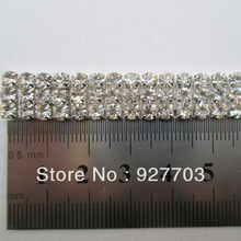 (CM259) 1 Yard 3 Row Rhinestone banding Silver Tone Wedding Decoration Cake Ribbon Trim