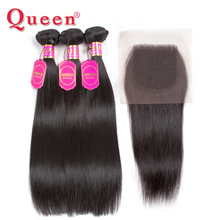 Queen Hair Products Brazilian Straight Human Hair 3 Bundles With Closure 100% Remy Brazilian Hair Weave Bundles Extensions(China)