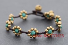Daisy Braided Bracelet with waxed cord weaved,thai style brass bracelet for women,5pcs/lots free shipping(China)