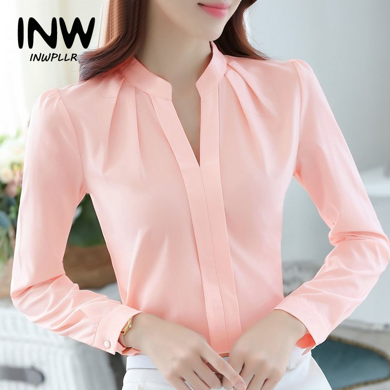 Womens Tops And Blouses Femme 2019 Autumn Office Shirts Female V-Neck Long Sleeve Blusas Mujer Fashion Chiffon Blouse Shirt(China)