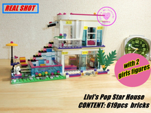 bela 10498 Livi's Pop Star House model Building Blocks Andrea girls princess Toy Compatible with Lego kid Friends gift set()