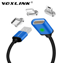 VOXLINK 1m Magnetic USB Cable For iPhone X 8 7 6 Plus 5s USB Type C & Micro Magnetic USB Charger Cable Adapter With LED Display(China)
