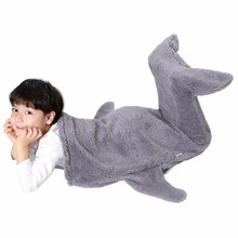 Sinogem Cute Cozy Mermaid Tail Blanket For Kids Super Soft Dual Layer Plush Shark Sleeping Bed For 3-12 Year Old Boys And Girls(China)