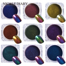 0.5G Top-Grade Chameleon Nail Glitter Powder Dust Manicure Nail Art Chrome Pigment Glitters Black Base Color Need