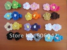"XIMA Free shipping 100pcs/lot,Grosgrain Ribbon Alligator Clip Lined Clips with 1"" Crochet  flowers  for Kids Hair Accessories"