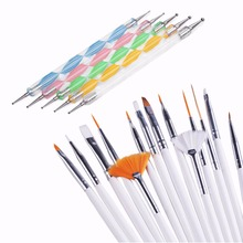 20 pcs/set Nail Tools Nail Brush Dotting Painting Drawing Pen Nail Art Brush Gel Polish Brushes Tools(China)