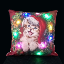 2017 New Arrival Linen LED Merry Christmas Reindeer Cushion Cover Home Pillow Cushion Cover Pillowcase Single-sided Printing