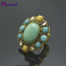 Fshion ring Exaggerated personality ring retro big temperament Alloy artificial gem resin ring(China)