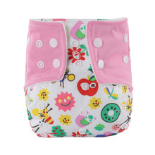 Print Cartoon Washable Baby Cloth Diaper Cover Reusable Newborn Child Baby Diapers Waterproof Cloth Nappy Nappy Changing(China)