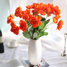 10pcs/lot 53cm Sunset Red Artificial Silk Flower 2 Heads Fake Poppy Wedding Flowers For Garland Hair Home Decoration Bouquet