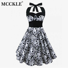 Buy MCCKLE Women Halter Plus Size Sleeveless Casual Dress Vintage Skull Floral Printed Dress 2018 Summer Women's Dress Sexy Dresses