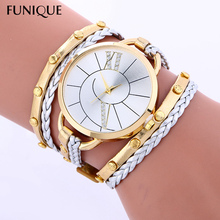 FUNIQUE Big Dial Leather Women Watches handmade Braided Ladies Casual Dress Watch Women Bracelet Gold Watches for Women Clock