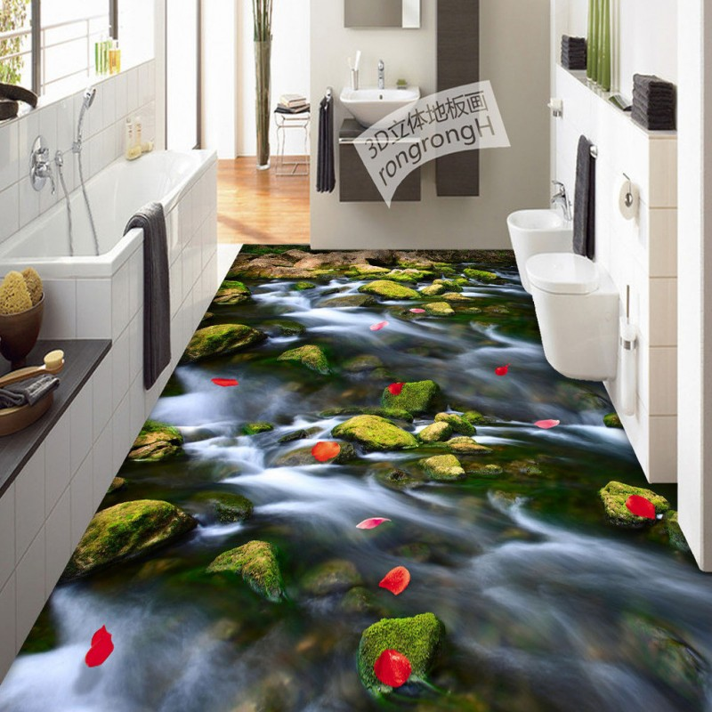 Free Shipping River petals 3D flooring non-slip waterproof kitchen living room bedroom bathroom study lobby flooring mural<br>