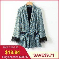 Tangada кимоно с перьями женское кимоно мятный жакет жакет с поясом мятный кардиган голубой кардиган шелковое кимоно женский пиджак женский жа...