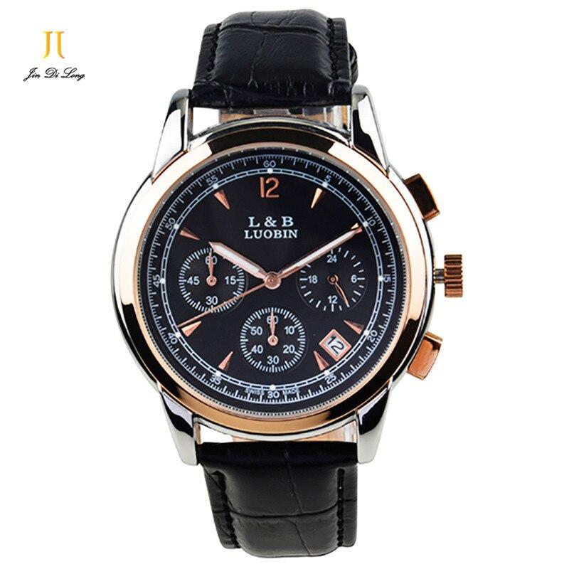 Brand New Classic Fashion Quartz Watch Men 3 Sub-Dial Business Sport Watch Genuine Leather Strap Luminous Clock Waterproof<br>