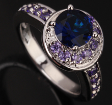 Unusual Moon Sun Circle Blue Fashion & Purple Cubic Zirconia 925 Sterling Silver Women's Party Jewelry Rings Size 6 7 8 9 S0150