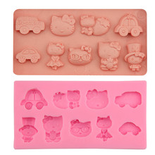DIY Cartoon Hello Kitty Car Baby Toy Fondant Cake Silicone Mold Cupcake Candy Chocolate Decoration Baking Tool Moulds FQ1836