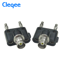 Cleqee P7006 5PCS Adapter BNC Female Jack to Two Dual 4mm Banana Binding Male Connector(China)