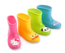 2016 Children boots kids rainbow boot candy color waterproof shoes for boys and girls slip water shoes baby boots students 16J21