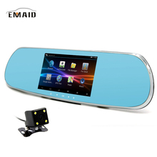 EMAID 5 inch Android Car DVR GPS mirror with rearview camera Video recorder DVR with two cameras full hd 1080P dashcam Free ma