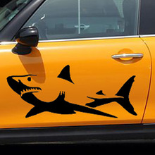 20cm*9cm Novelty White And Black Shark Car Sticker For Cars Side, Truck Window ,Auto SUV Door Kayak Vinyl Decal