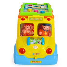 Abbyfrank Plastic Electronic Miniature Smart School Bus Car Model Musical Flashing Educational Crawling Toys For Baby Kids(China)