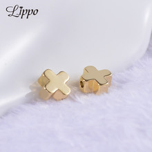 30pcs Gold Color plated Spacer Beads Smooth Copper Cross Bead 6mm
